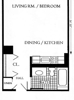 "Unit Type ""A"", 459 sqft"