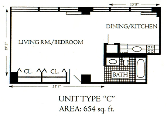 "Unit Type ""C"", 654 sqft"