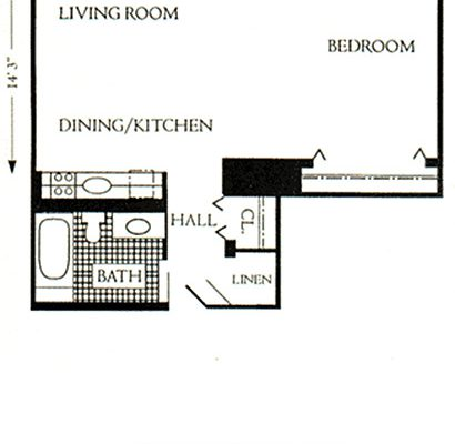 "Unit Type ""F"", 586 sqft"